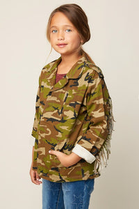Girls Camo Utility Fringed Jacket