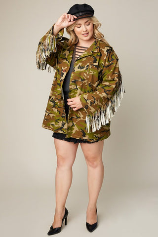 Plus Size Camo Jacket With Fringe Detail