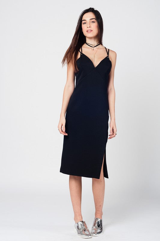 Black Cross Back Midi Dress - Nofashiondeadlines