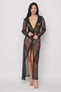 Black Fishnet Hooded Duster Cover-up
