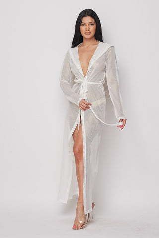 White Fishnet Hooded Duster Cover-up