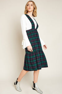 Tiered Overall Plaid Suspender Dress