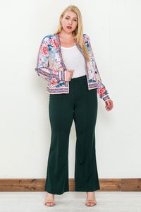 Plus Size Green High Rise Flare Pants