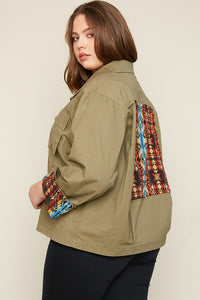 Plus Size Cropped Multi Pocket Cargo Back Patch Jacket - Nofashiondeadlines