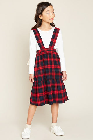 Girls Red Tiered Overall Kids Dress