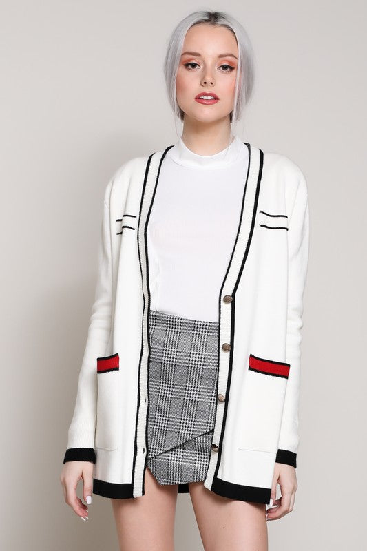 Contrast Color Open Front Cardigan - Nofashiondeadlines