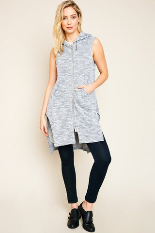 Grey Sleeveless Zip Up Hoodie Vest With Side Slits