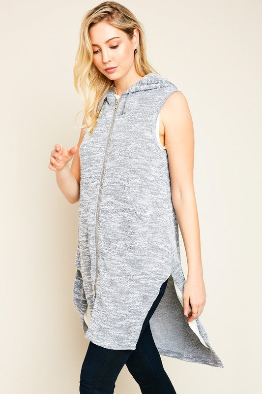 Sleeveless Zip Up Hoodie Vest With Side Slits