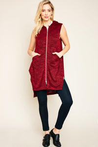 Burgundy Sleeveless Zip Up Hoodie Vest With Side Slits