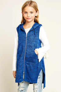 Girls Long Sleeveless Zip Up Hoodie - Nofashiondeadlines