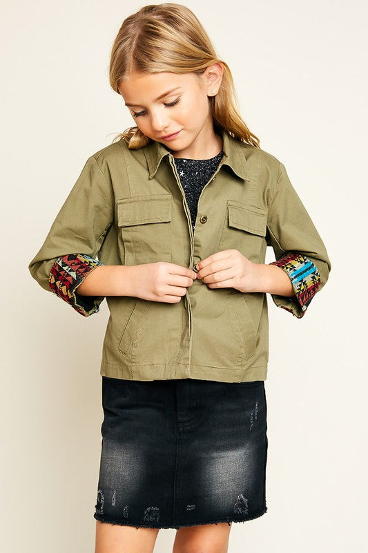 Girls Multi Pocket Cargo Back Patch Jacket - Nofashiondeadlines