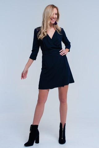 Navy Lace Insert Wrap Dress