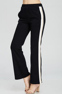 Black Sweat Pant Style Side Stripe Pants - Nofashiondeadlines