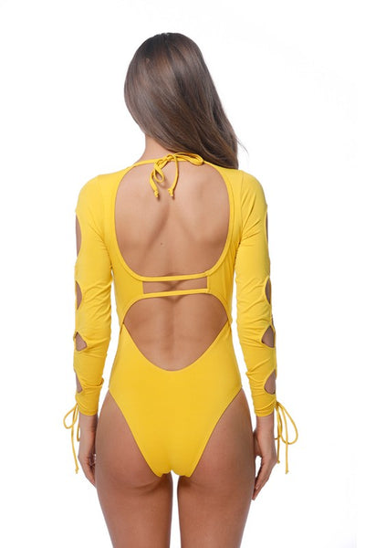 Mustard Laced Long Sleeve One Piece Swimsuit - Nofashiondeadlines