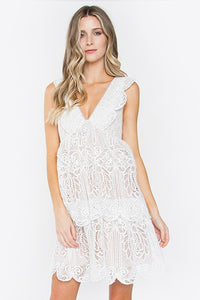 White Lace V Neck Dress