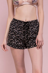 Black Floral Print Pajama Bottoms