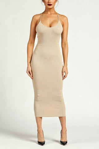 Laced Back Ribbed Knit Body-con Dress - Nofashiondeadlines