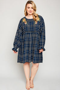 Navy Floral Detail Plaid Print Plus Size Dress