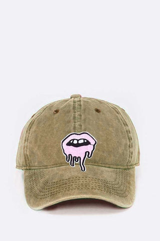 Khaki Dripping Lips Embroidered Patch Cap