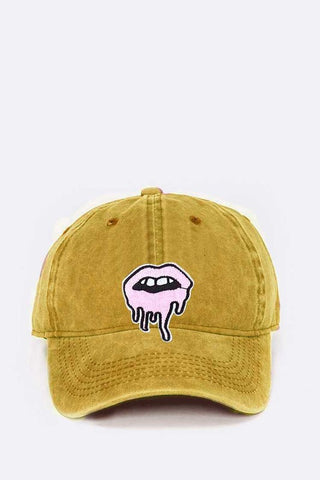 Mustard Dripping Lips Embroidered Patch Cap