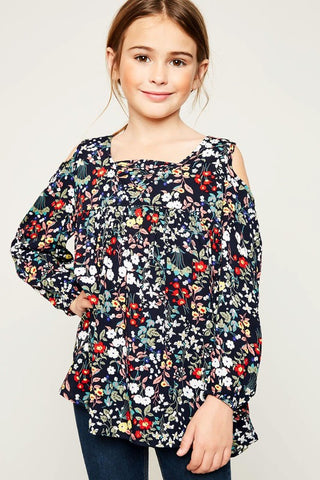 Girls Navy Floral Print Tunic
