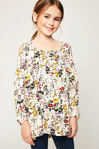 Girls Ivory Floral Print Tunic