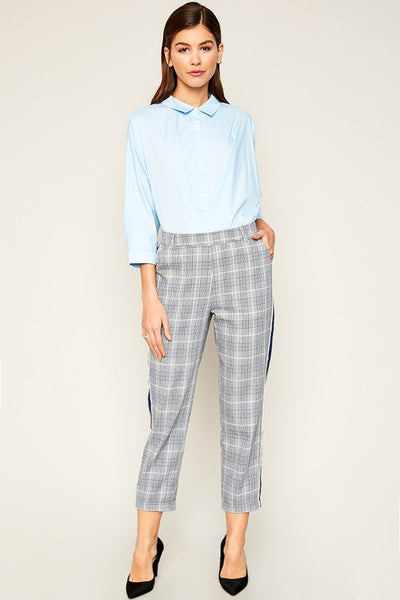 Glen Check Trousers With Side Stripe Detail - Nofashiondeadlines