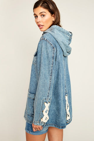 Lace-Up Denim Utility Jacket - Nofashiondeadlines