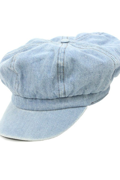 Washed Denim Over Sized Cabbie Hat