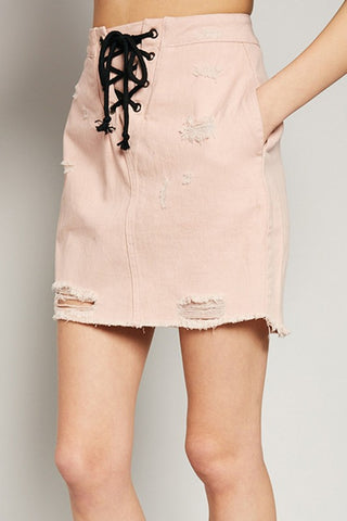 Pink High Waist Laced Detail Denim Skirt