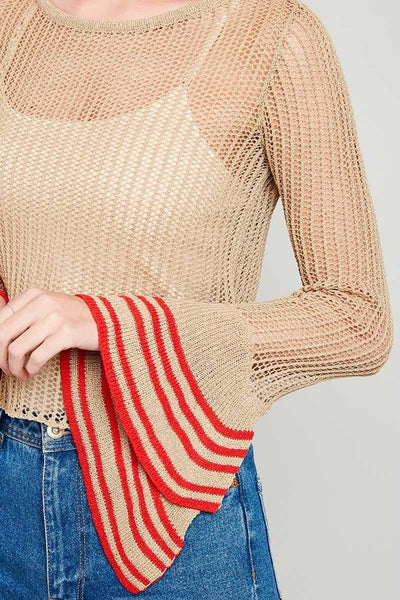 Detailed Bell Sleeve Knit Top - Nofashiondeadlines