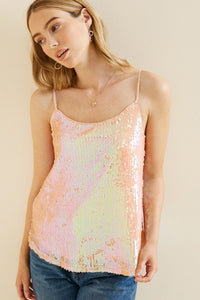 Peach Iridescent Sequin Tank