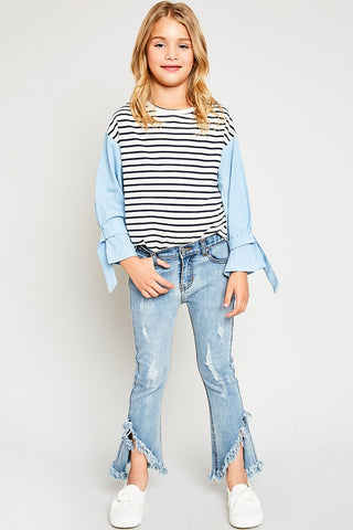 Girls Frayed Distressed Flare Jeans