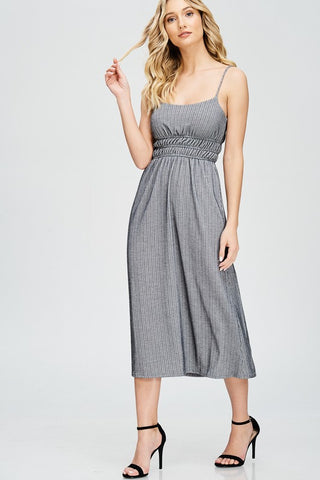 Grey Sleeveless Printed Midi Dress