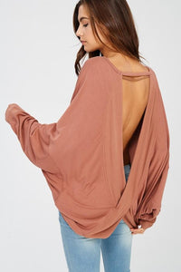Reversible Long Sleeve Bat-wing Crossover Top - Nofashiondeadlines