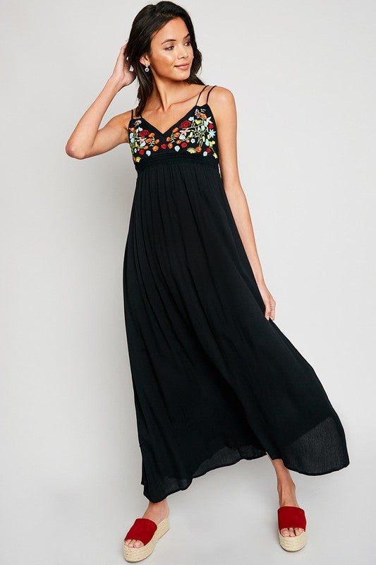 Black Floral Embroidered Maxi Dress - Nofashiondeadlines