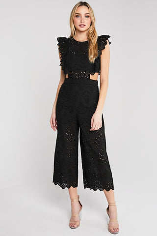 Black Ruffle Detail Lace Jumpsuit