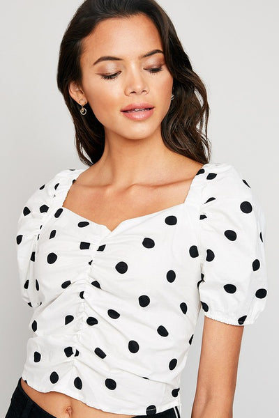 Smocked Polka Dot Crop Top - Nofashiondeadlines