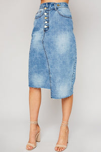 Asymmetrical Denim Midi Skirt