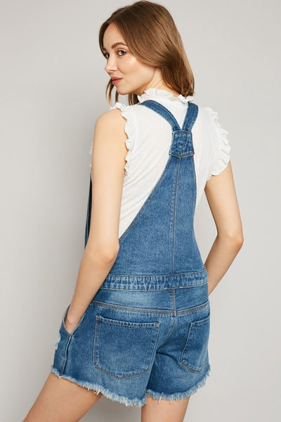 Medium Wash Denim Short Overalls