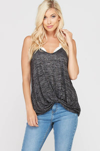 Black Spaghetti Strap Twisted Camisole Top - Nofashiondeadlines