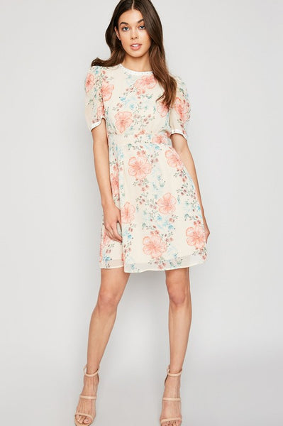 Cream Floral Puff Sleeve A-line Dress
