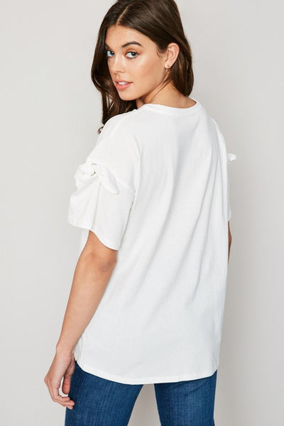 Bow Tie Sleeve Detail Shirt - Nofashiondeadlines