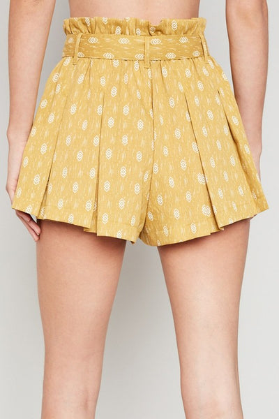 Honey Printed Pleated Tie Shorts