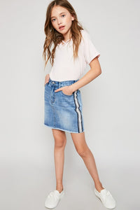 Girls Side Stripe Denim Skirt