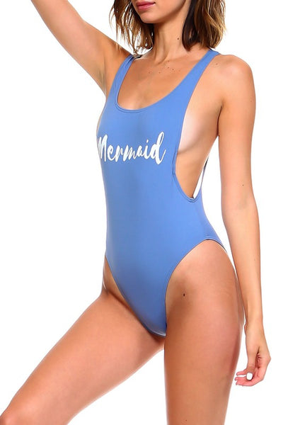 Blue Mermaid High Cut Retro One Piece Swimsuit - Nofashiondeadlines