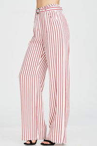 Red Striped Print Pants