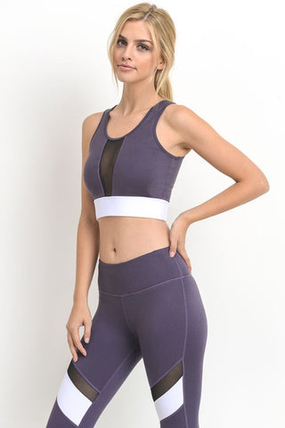 Dark Violet Color-block Band Mesh Sports Bra - Nofashiondeadlines