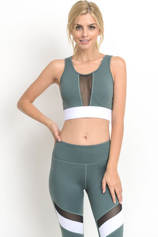Medium Teal Blue Color-block Band Mesh Sports Bra - Nofashiondeadlines