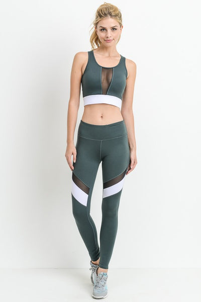 Green Color-block Band Mesh Sports Bra - Nofashiondeadlines